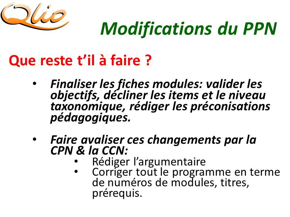Modifications du PPN Que reste til à faire .