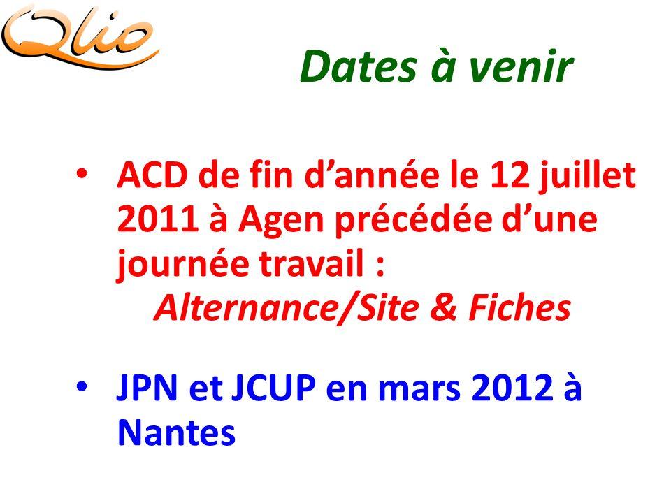 Dates à venir ACD de fin dannée le 12 juillet 2011 à Agen précédée dune journée travail : Alternance/Site & Fiches JPN et JCUP en mars 2012 à Nantes