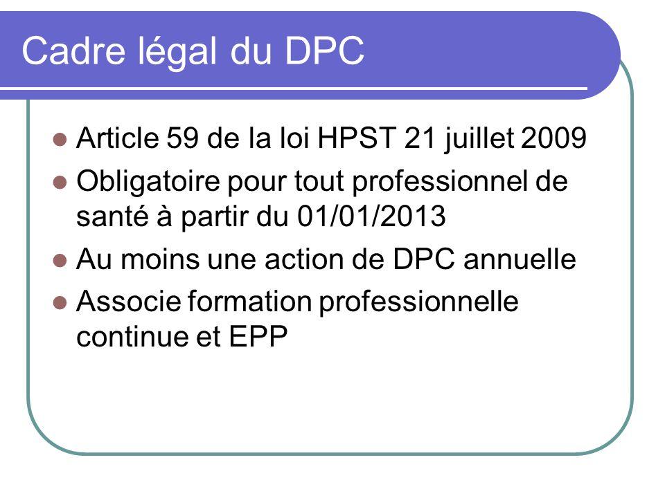 Cadre légal du DPC Article 59 de la loi HPST 21 juillet 2009 Obligatoire pour tout professionnel de santé à partir du 01/01/2013 Au moins une action de DPC annuelle Associe formation professionnelle continue et EPP