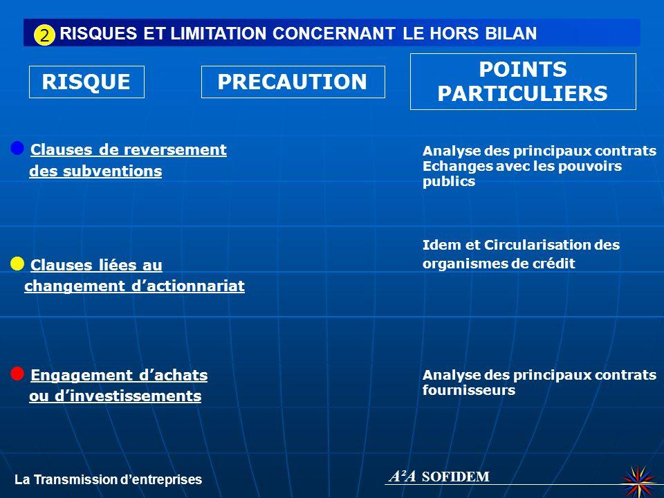 RISQUE RISQUES ET LIMITATION CONCERNANT LE HORS BILAN Garanties données PRECAUTION POINTS PARTICULIERS Garantie de passif, sappuyer sur le rapport du