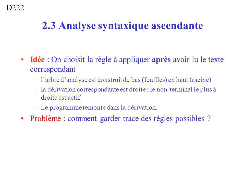 2.3 Analyse syntaxique ascendante Idée : On choisit la règle à appliquer après avoir lu le texte correspondant –larbre danalyse est construit de bas (feuilles) en haut (racine) –la dérivation correspondante est droite : le non-terminal le plus à droite est actif.