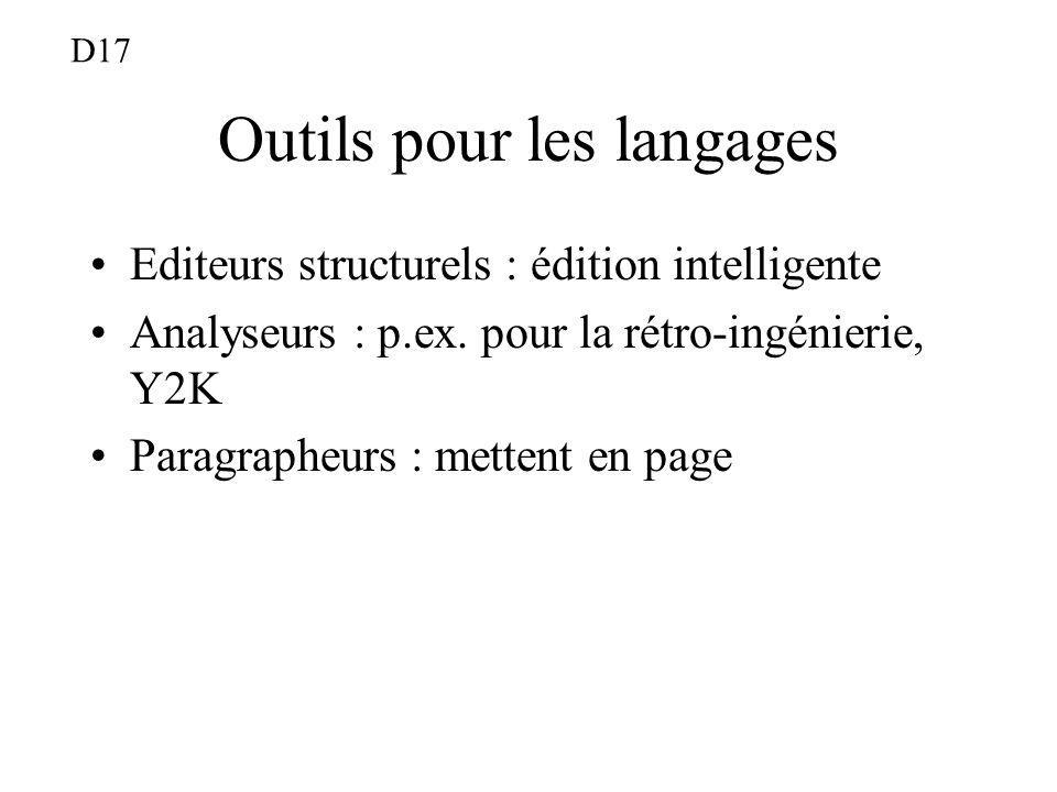 Outils pour les langages Editeurs structurels : édition intelligente Analyseurs : p.ex. pour la rétro-ingénierie, Y2K Paragrapheurs : mettent en page