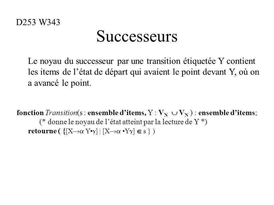 Successeurs fonction Transition(s : ensemble ditems, Y : V N V N ) : ensemble ditems; (* donne le noyau de létat atteint par la lecture de Y *) retourne ( { [X Y ] | [X Y ] s } ) Le noyau du successeur par une transition étiquetée Y contient les items de létat de départ qui avaient le point devant Y, où on a avancé le point.