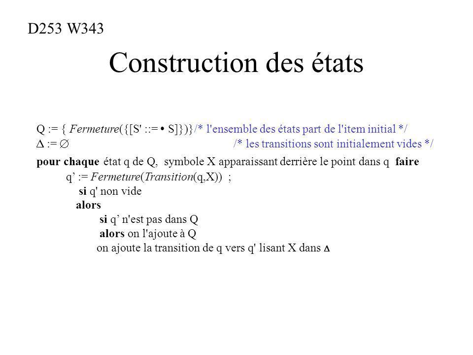 Construction des états Q := { Fermeture({[S ::= S]})}/* l ensemble des états part de l item initial */ := /* les transitions sont initialement vides */ pour chaque état q de Q, symbole X apparaissant derrière le point dans q faire q := Fermeture(Transition(q,X)) ; si q non vide alors si q n est pas dans Q alors on l ajoute à Q on ajoute la transition de q vers q lisant X dans D253 W343