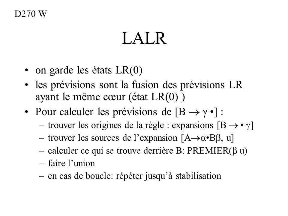 LALR on garde les états LR(0) les prévisions sont la fusion des prévisions LR ayant le même cœur (état LR(0) ) Pour calculer les prévisions de [B ] : –trouver les origines de la règle : expansions [B ] –trouver les sources de lexpansion [A B, u] –calculer ce qui se trouve derrière B: PREMIER( u) –faire lunion –en cas de boucle: répéter jusquà stabilisation D270 W