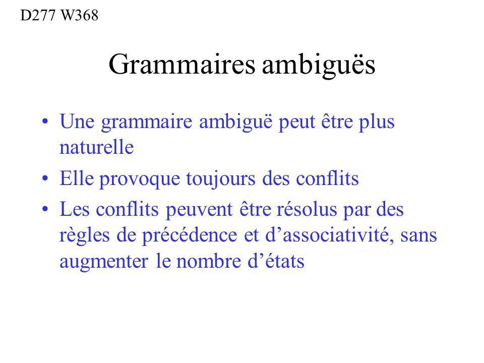 Grammaires ambiguës Une grammaire ambiguë peut être plus naturelle Elle provoque toujours des conflits Les conflits peuvent être résolus par des règles de précédence et dassociativité, sans augmenter le nombre détats D277 W368