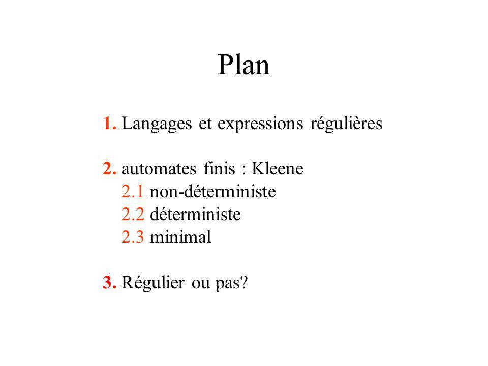 Plan 1. Langages et expressions régulières 2.
