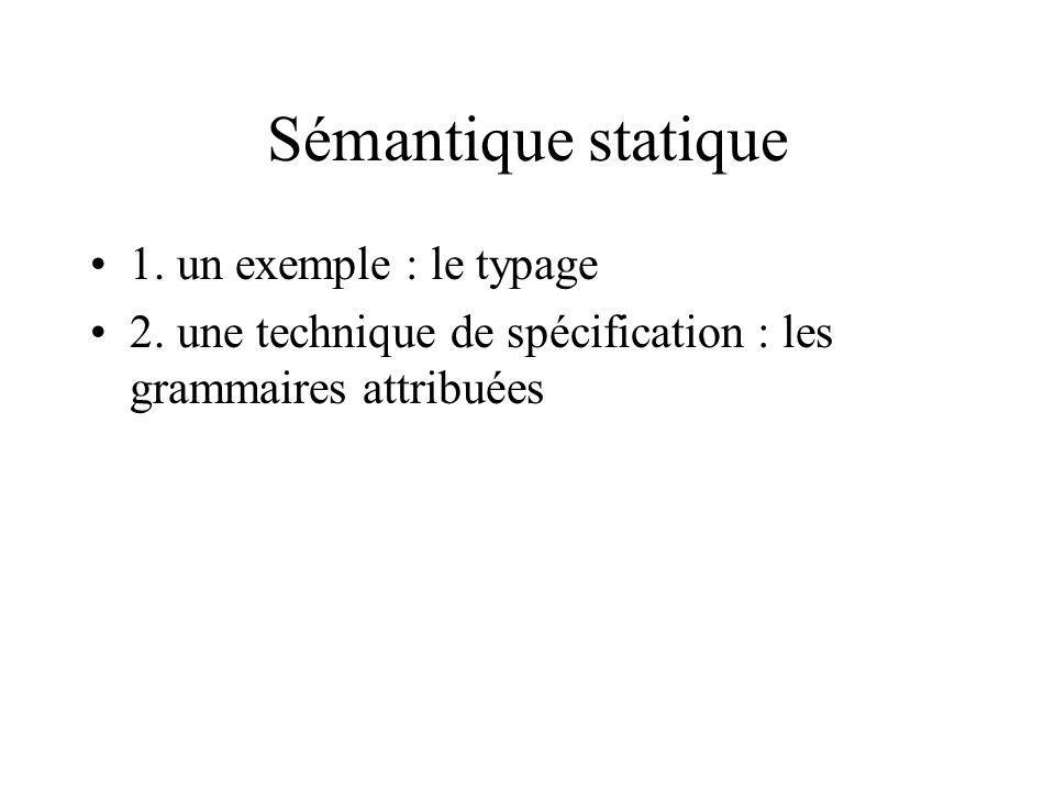Sémantique statique 1. un exemple : le typage 2.
