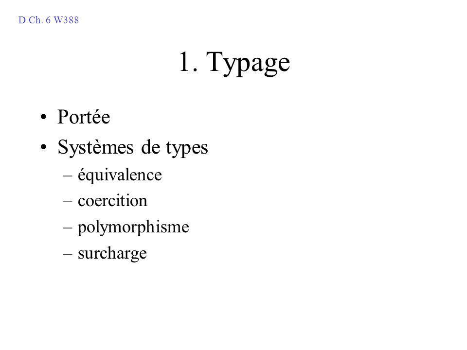 1. Typage Portée Systèmes de types –équivalence –coercition –polymorphisme –surcharge D Ch. 6 W388