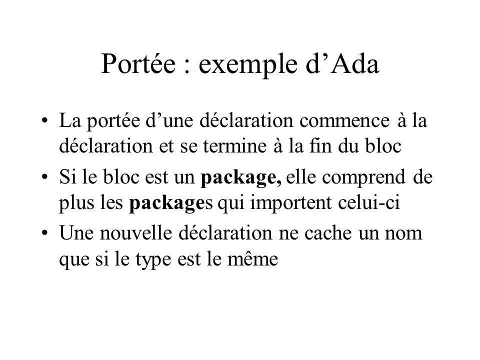 Portée : exemple dAda La portée dune déclaration commence à la déclaration et se termine à la fin du bloc Si le bloc est un package, elle comprend de plus les packages qui importent celui-ci Une nouvelle déclaration ne cache un nom que si le type est le même