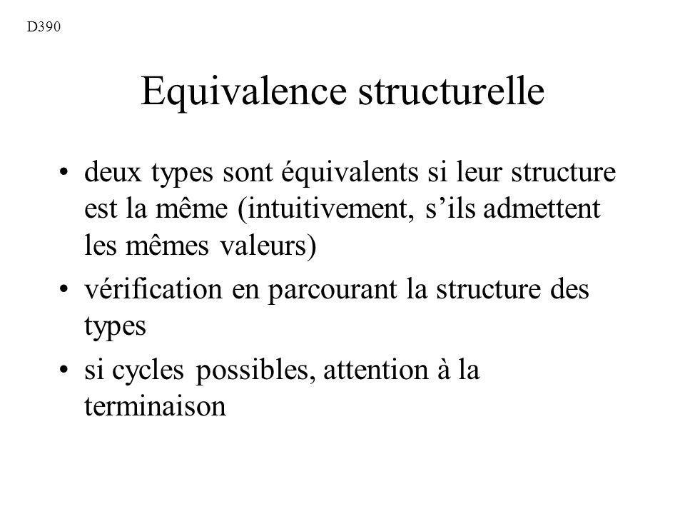 Equivalence structurelle deux types sont équivalents si leur structure est la même (intuitivement, sils admettent les mêmes valeurs) vérification en parcourant la structure des types si cycles possibles, attention à la terminaison D390