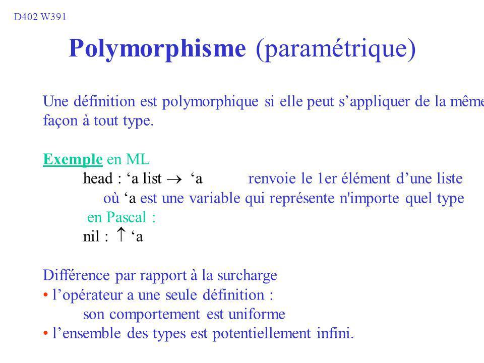 Polymorphisme (paramétrique) Une définition est polymorphique si elle peut sappliquer de la même façon à tout type. Exemple en ML head : a list a renv
