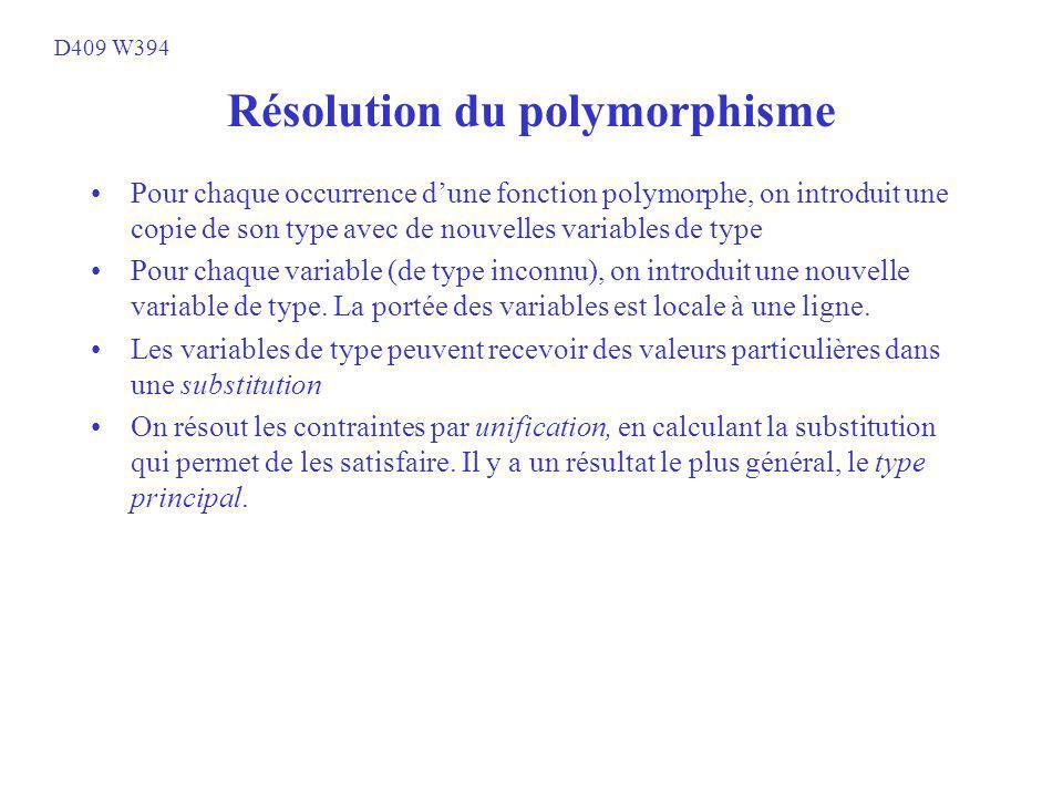 Résolution du polymorphisme Pour chaque occurrence dune fonction polymorphe, on introduit une copie de son type avec de nouvelles variables de type Pour chaque variable (de type inconnu), on introduit une nouvelle variable de type.