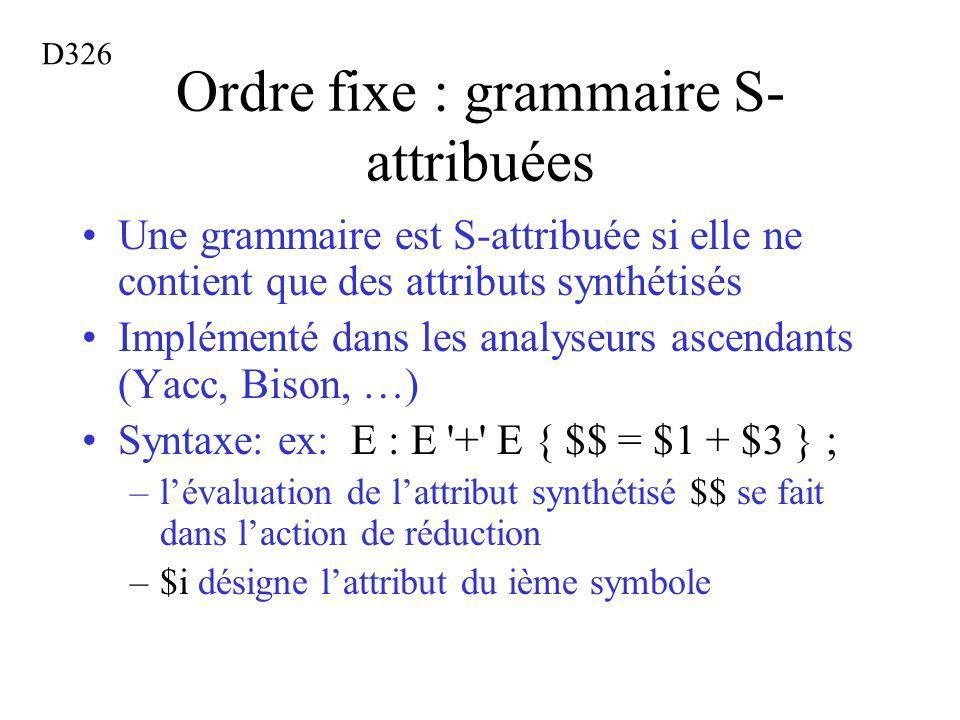 Ordre fixe : grammaire S- attribuées Une grammaire est S-attribuée si elle ne contient que des attributs synthétisés Implémenté dans les analyseurs ascendants (Yacc, Bison, …) Syntaxe: ex: E : E + E { $$ = $1 + $3 } ; –lévaluation de lattribut synthétisé $$ se fait dans laction de réduction –$i désigne lattribut du ième symbole D326