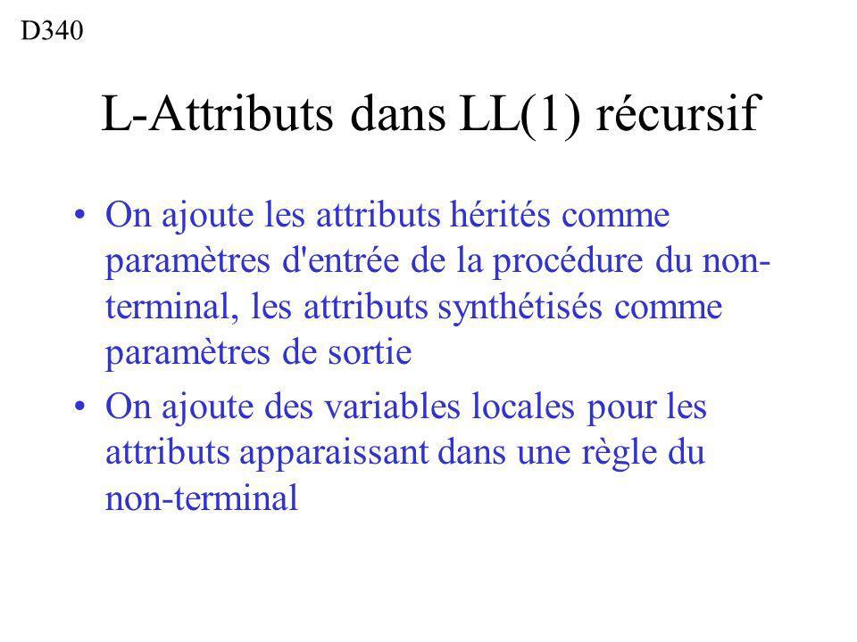 L-Attributs dans LL(1) récursif On ajoute les attributs hérités comme paramètres d entrée de la procédure du non- terminal, les attributs synthétisés comme paramètres de sortie On ajoute des variables locales pour les attributs apparaissant dans une règle du non-terminal D340