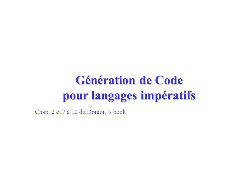 Génération de Code pour langages impératifs Chap. 2 et 7 à 10 du Dragon s book