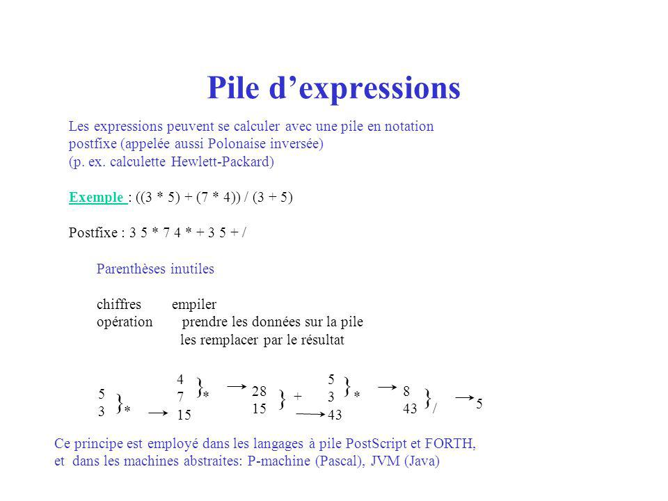 Pile dexpressions Les expressions peuvent se calculer avec une pile en notation postfixe (appelée aussi Polonaise inversée) (p.