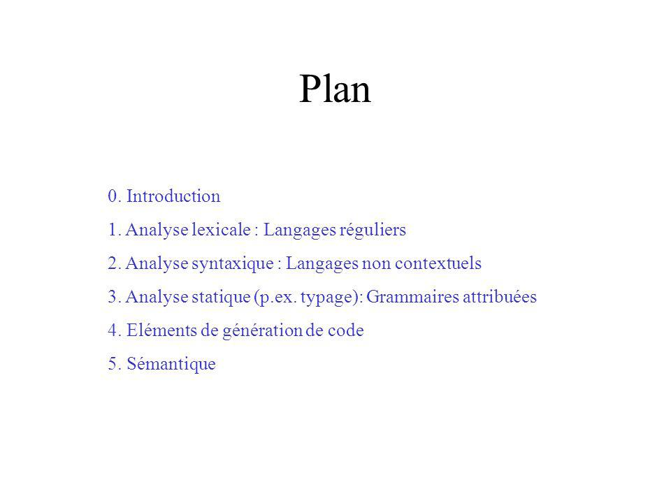 Plan 0. Introduction 1. Analyse lexicale : Langages réguliers 2.
