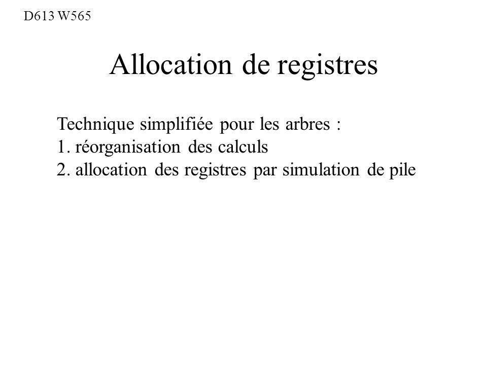 Allocation de registres D613 W565 Technique simplifiée pour les arbres : 1.