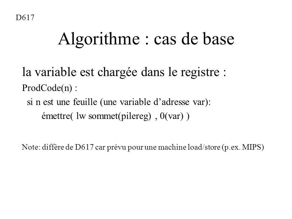 Algorithme : cas de base la variable est chargée dans le registre : ProdCode(n) : si n est une feuille (une variable dadresse var): émettre( lw sommet(pilereg), 0(var) ) Note: diffère de D617 car prévu pour une machine load/store (p.ex.