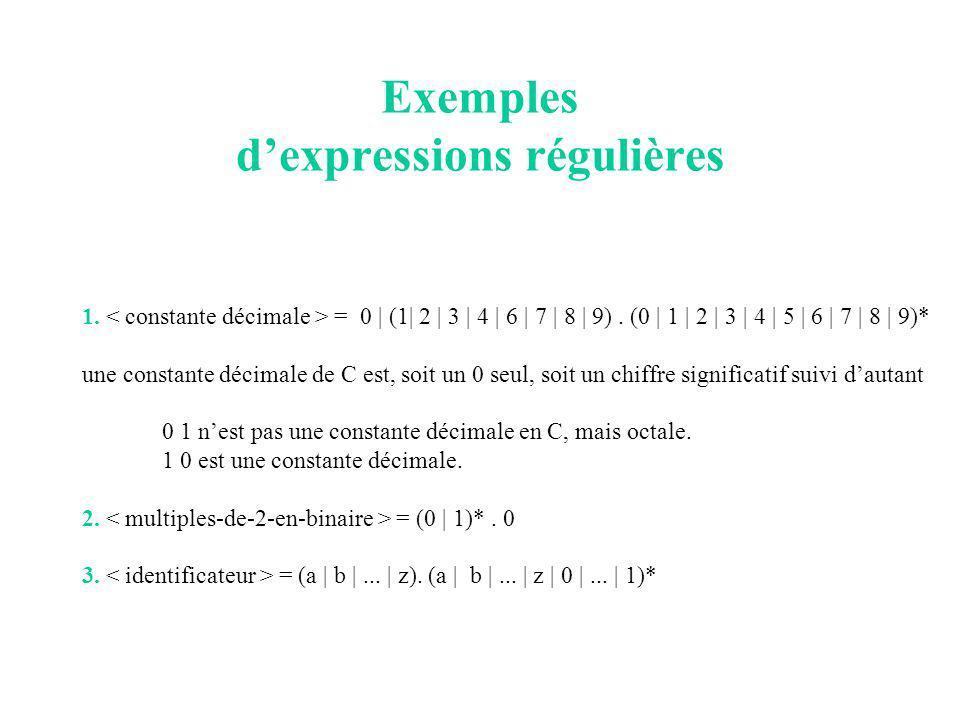 Exemples dexpressions régulières 1. = 0 | (1| 2 | 3 | 4 | 6 | 7 | 8 | 9).