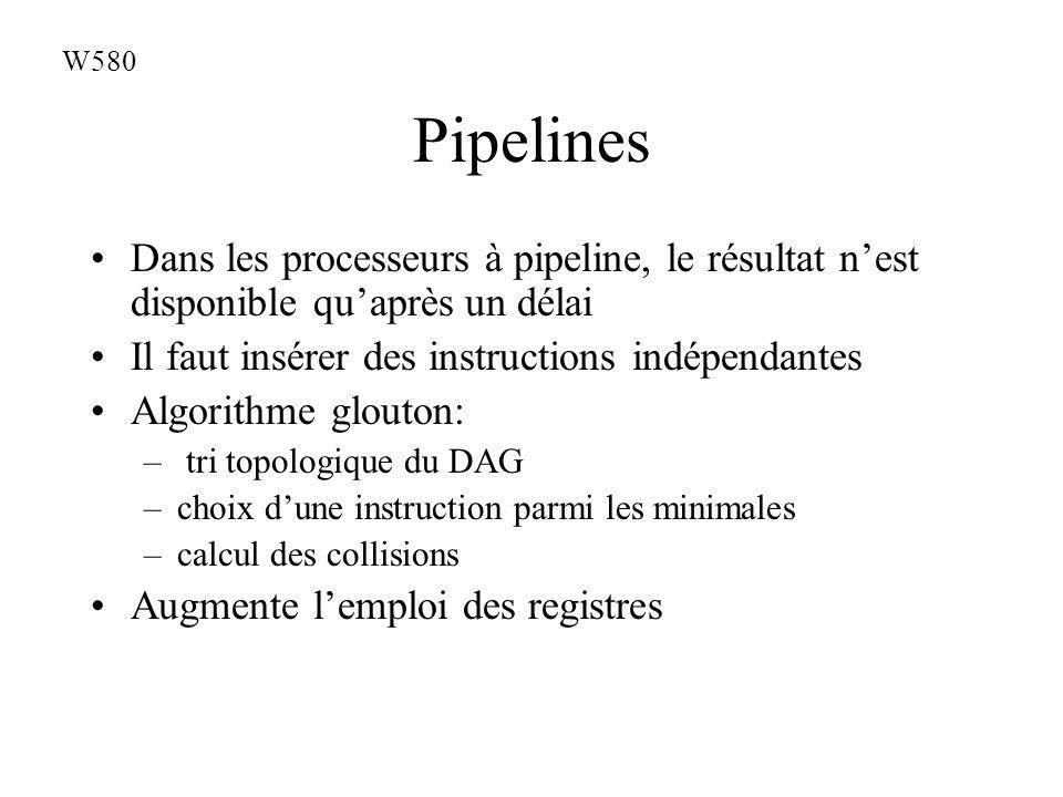 Pipelines Dans les processeurs à pipeline, le résultat nest disponible quaprès un délai Il faut insérer des instructions indépendantes Algorithme glouton: – tri topologique du DAG –choix dune instruction parmi les minimales –calcul des collisions Augmente lemploi des registres W580