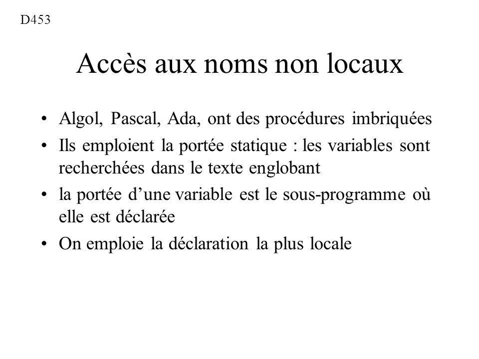 Accès aux noms non locaux Algol, Pascal, Ada, ont des procédures imbriquées Ils emploient la portée statique : les variables sont recherchées dans le texte englobant la portée dune variable est le sous-programme où elle est déclarée On emploie la déclaration la plus locale D453