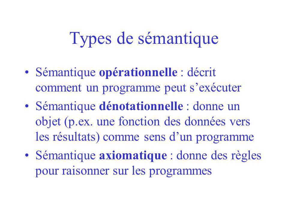 Types de sémantique Sémantique opérationnelle : décrit comment un programme peut sexécuter Sémantique dénotationnelle : donne un objet (p.ex. une fonc