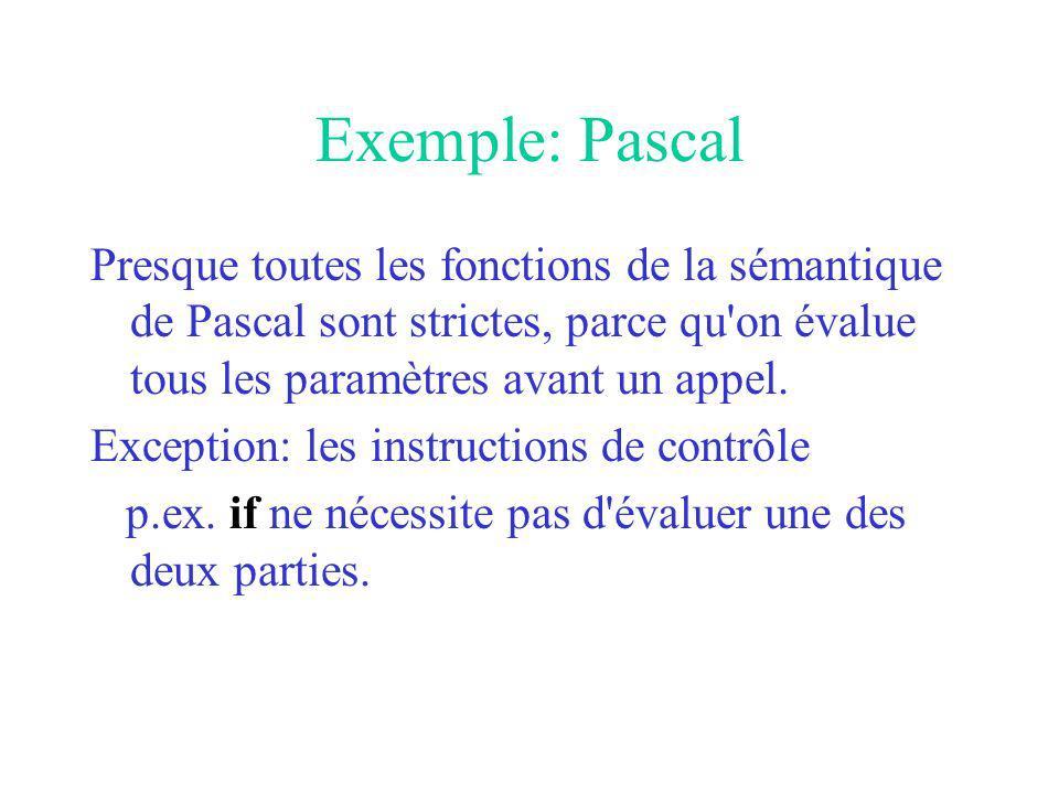 Exemple: Pascal Presque toutes les fonctions de la sémantique de Pascal sont strictes, parce qu on évalue tous les paramètres avant un appel.