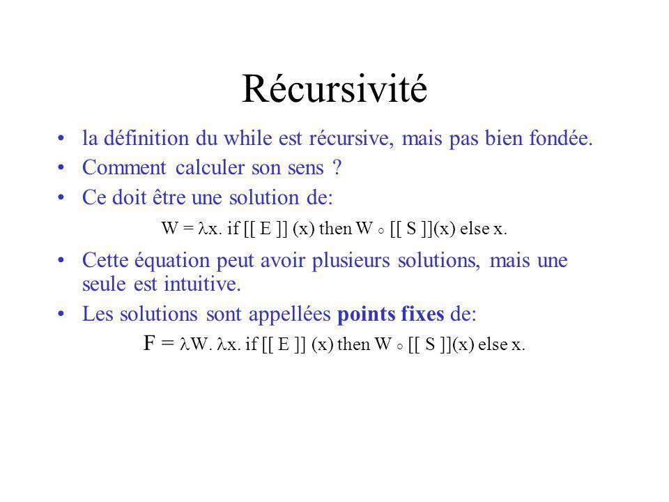 Récursivité la définition du while est récursive, mais pas bien fondée. Comment calculer son sens ? Ce doit être une solution de: W = x. if [[ E ]] (x