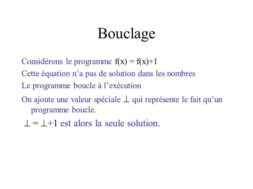 Bouclage Considérons le programme f(x) = f(x)+1 Cette équation na pas de solution dans les nombres Le programme boucle à lexécution On ajoute une valeur spéciale qui représente le fait quun programme boucle.