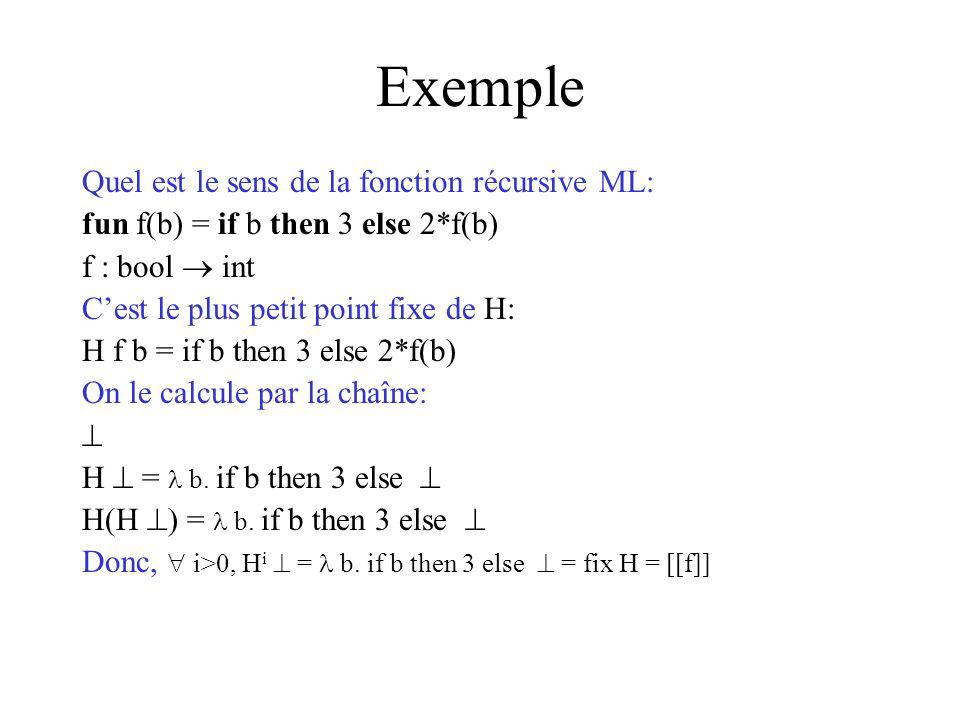 Exemple Quel est le sens de la fonction récursive ML: fun f(b) = if b then 3 else 2*f(b) f : bool int Cest le plus petit point fixe de H: H f b = if b then 3 else 2*f(b) On le calcule par la chaîne: H = b.