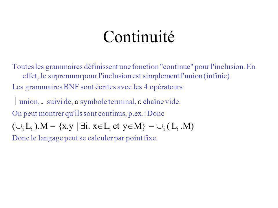 Continuité Toutes les grammaires définissent une fonction continue pour l inclusion.