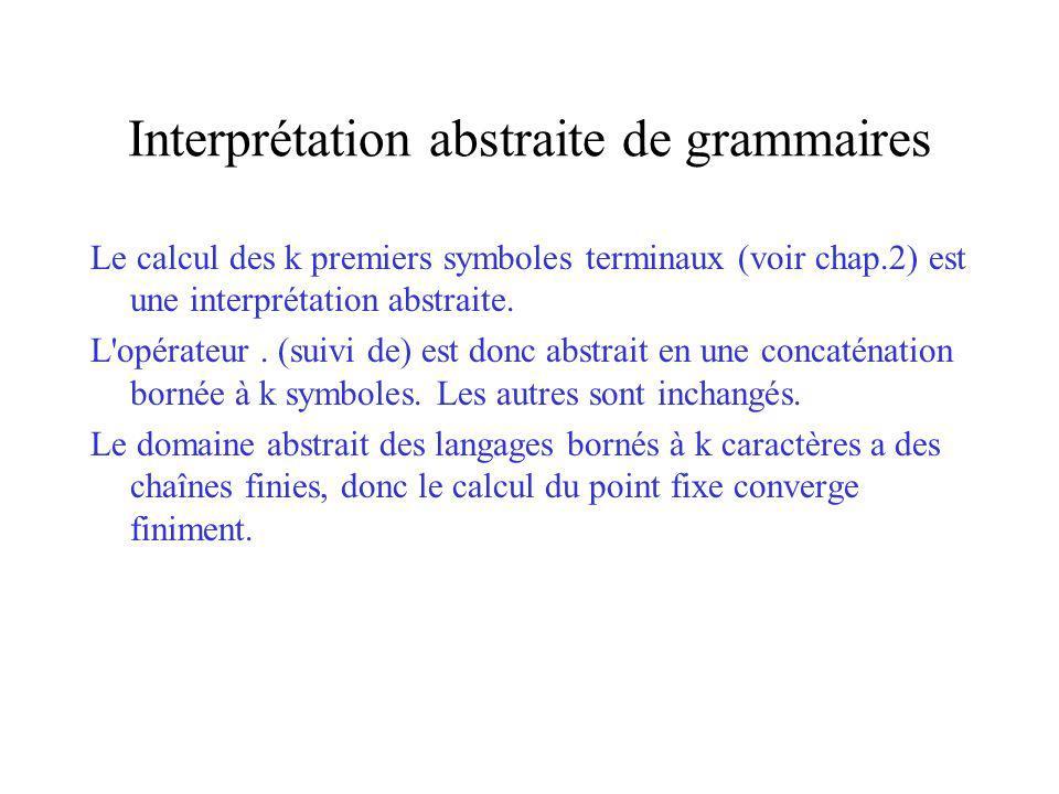 Interprétation abstraite de grammaires Le calcul des k premiers symboles terminaux (voir chap.2) est une interprétation abstraite. L'opérateur. (suivi