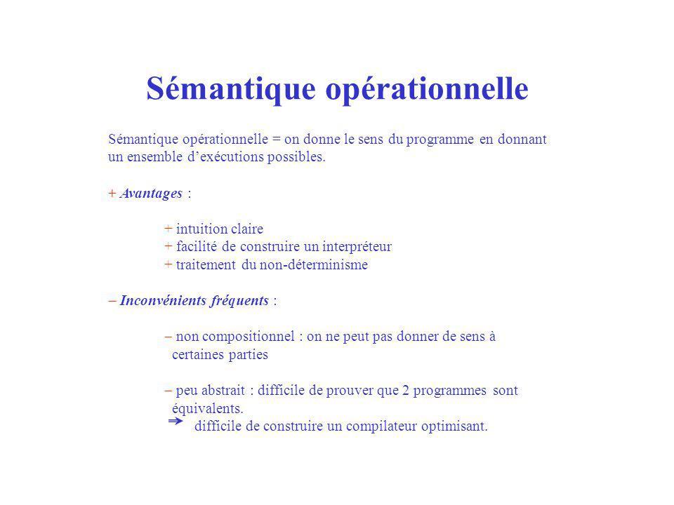 Sémantique opérationnelle Sémantique opérationnelle = on donne le sens du programme en donnant un ensemble dexécutions possibles. + Avantages : + intu