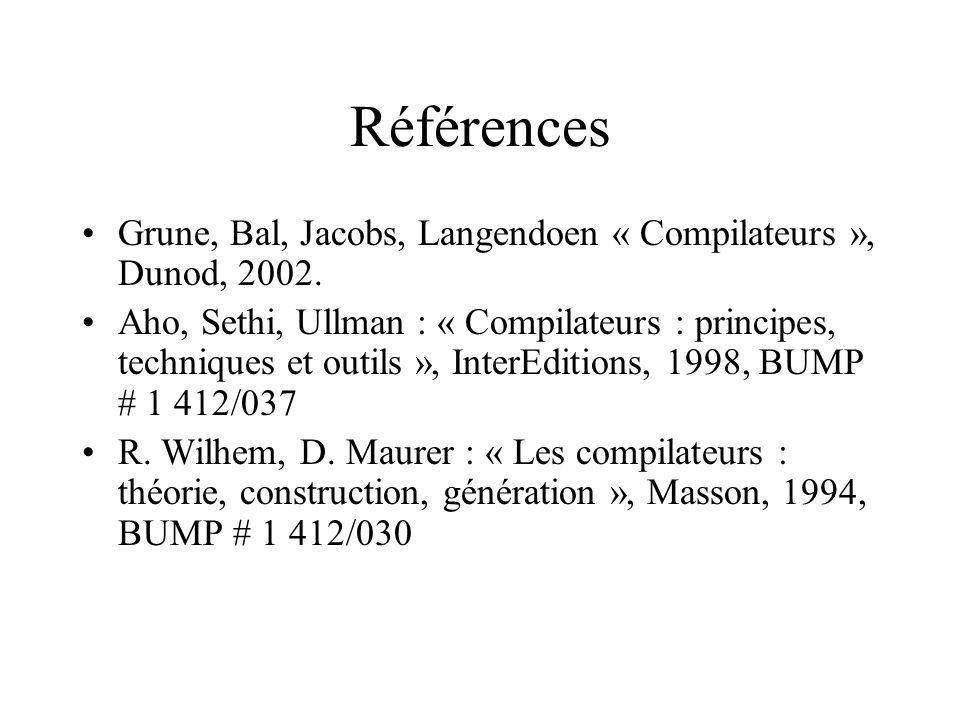 Références Grune, Bal, Jacobs, Langendoen « Compilateurs », Dunod, 2002.