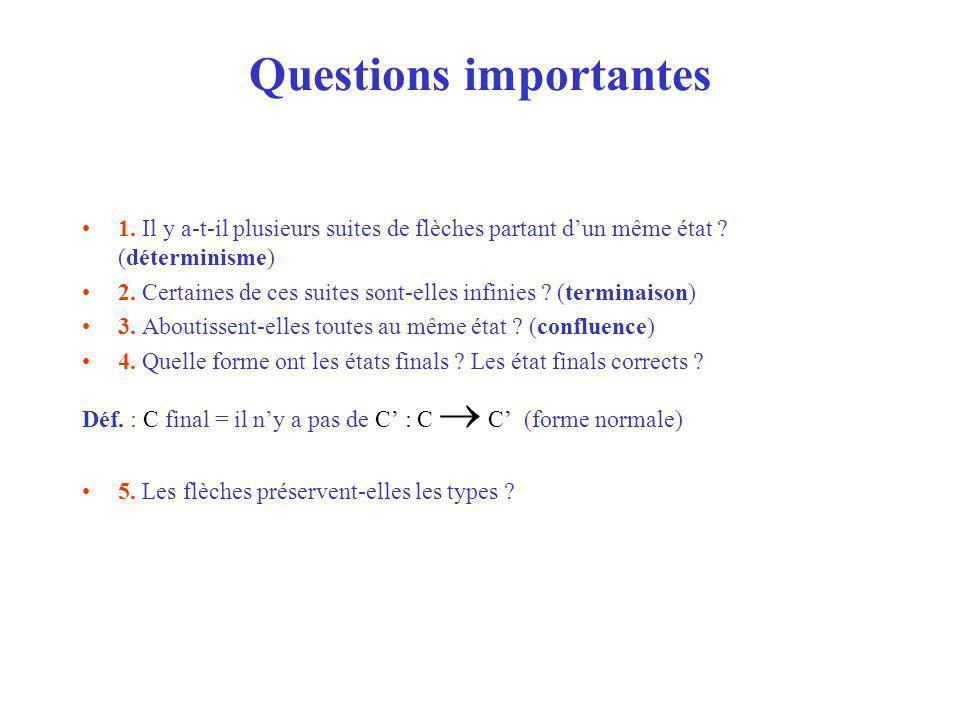 Questions importantes 1. Il y a-t-il plusieurs suites de flèches partant dun même état .