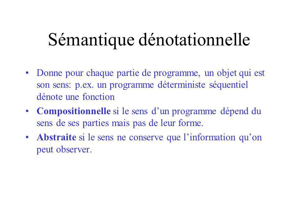 Sémantique dénotationnelle Donne pour chaque partie de programme, un objet qui est son sens: p.ex.