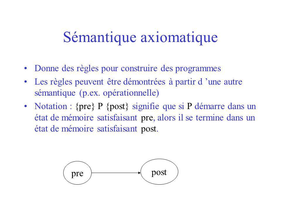 Sémantique axiomatique Donne des règles pour construire des programmes Les règles peuvent être démontrées à partir d une autre sémantique (p.ex.