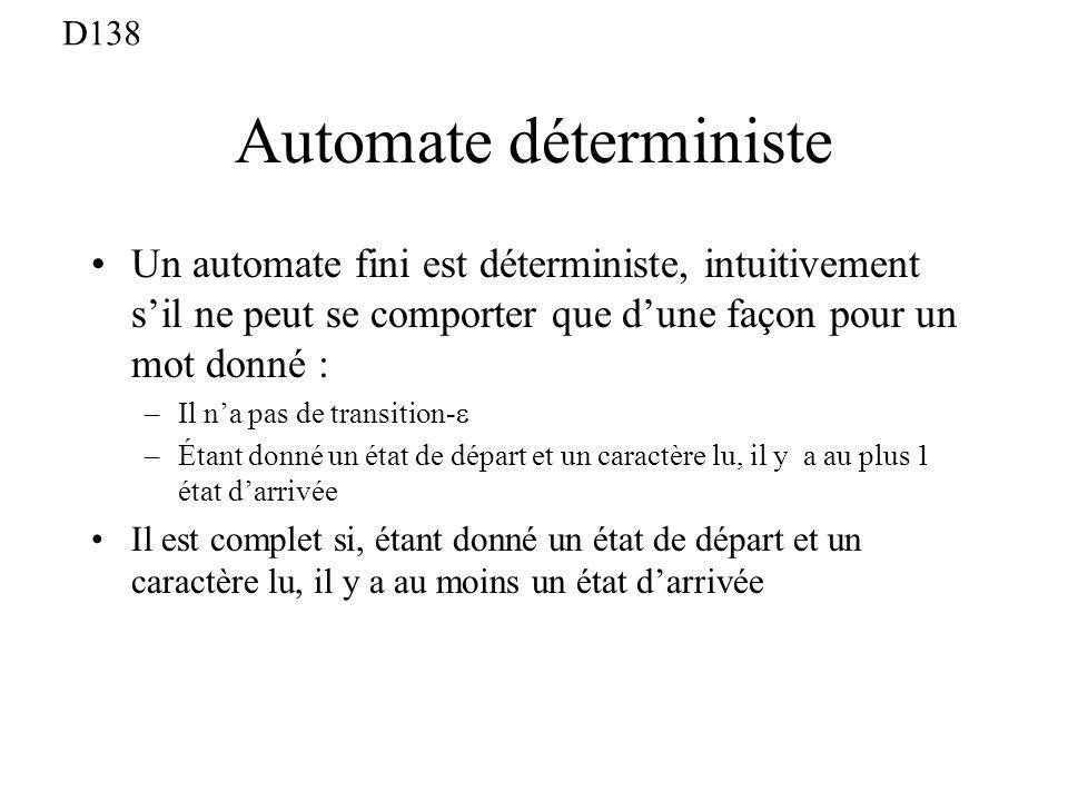 Automate déterministe Un automate fini est déterministe, intuitivement sil ne peut se comporter que dune façon pour un mot donné : –Il na pas de transition- –Étant donné un état de départ et un caractère lu, il y a au plus 1 état darrivée Il est complet si, étant donné un état de départ et un caractère lu, il y a au moins un état darrivée D138