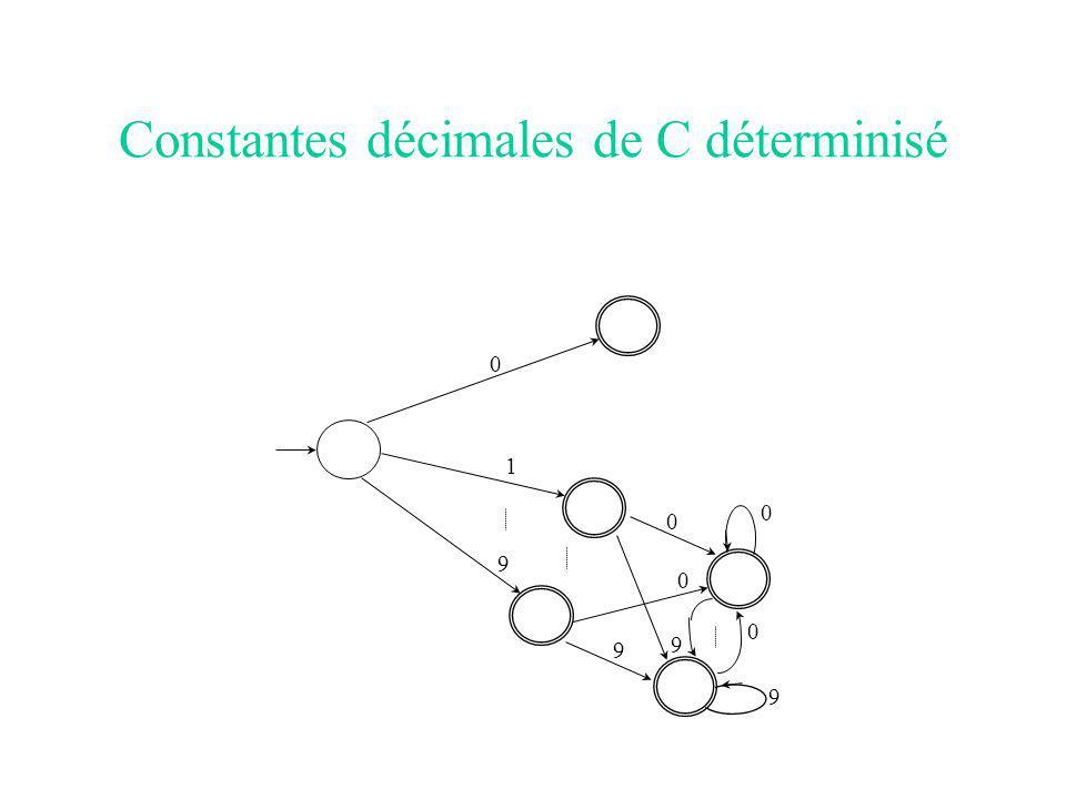 Constantes décimales de C déterminisé 0 1 9 0 9 0 9 0 0 9