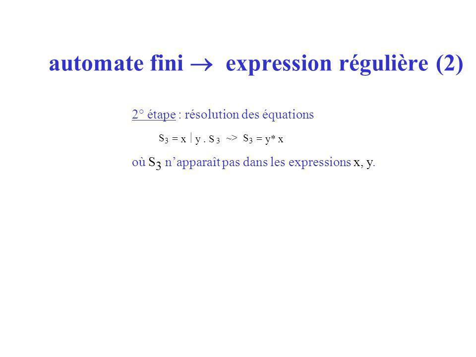 automate fini expression régulière (2) 2° étape : résolution des équations où S 3 napparaît pas dans les expressions x, y.