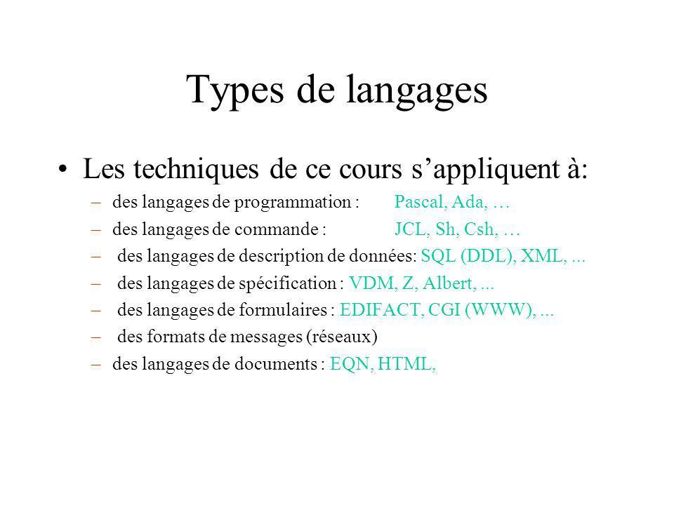 Types de langages Les techniques de ce cours sappliquent à: –des langages de programmation :Pascal, Ada, … –des langages de commande : JCL, Sh, Csh, … – des langages de description de données: SQL (DDL), XML,...