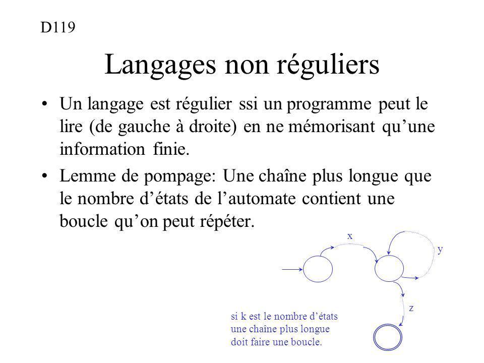 Langages non réguliers Un langage est régulier ssi un programme peut le lire (de gauche à droite) en ne mémorisant quune information finie. Lemme de p