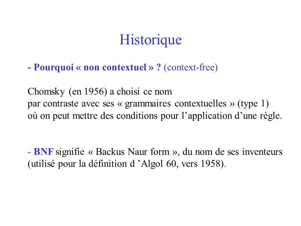 Historique - Pourquoi « non contextuel » ? (context-free) Chomsky (en 1956) a choisi ce nom par contraste avec ses « grammaires contextuelles » (type