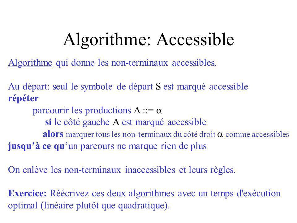 Algorithme: Accessible Algorithme qui donne les non-terminaux accessibles. Au départ: seul le symbole de départ S est marqué accessible répéter parcou