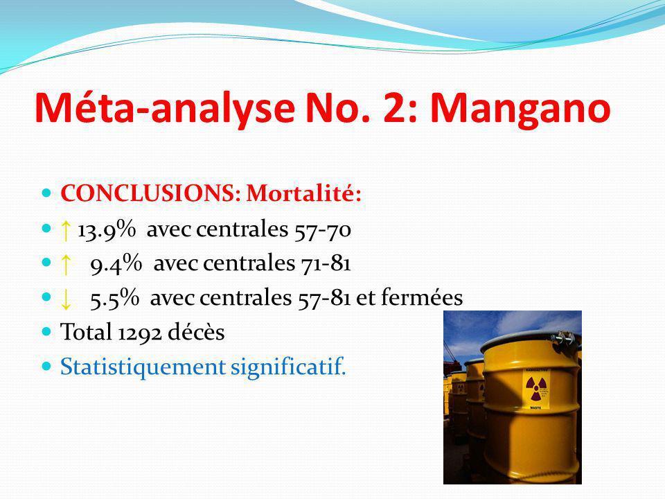 CONCLUSIONS: Mortalité: 13.9% avec centrales 57-70 9.4% avec centrales 71-81 5.5% avec centrales 57-81 et fermées Total 1292 décès Statistiquement sig