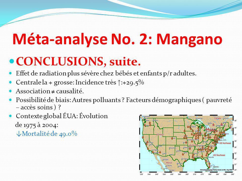 Méta-analyse No. 2: Mangano CONCLUSIONS, suite. Effet de radiation plus sévère chez bébés et enfants p/r adultes. Centrale la + grosse: Incidence très
