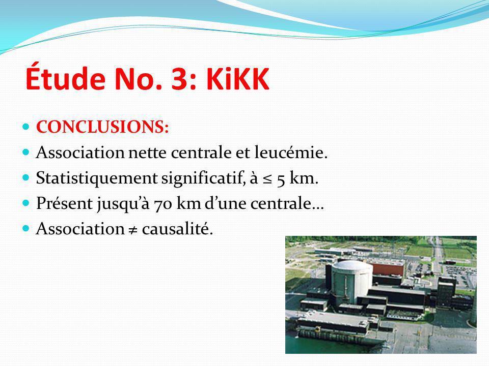 CONCLUSIONS: Association nette centrale et leucémie. Statistiquement significatif, à 5 km. Présent jusquà 70 km dune centrale… Association causalité.
