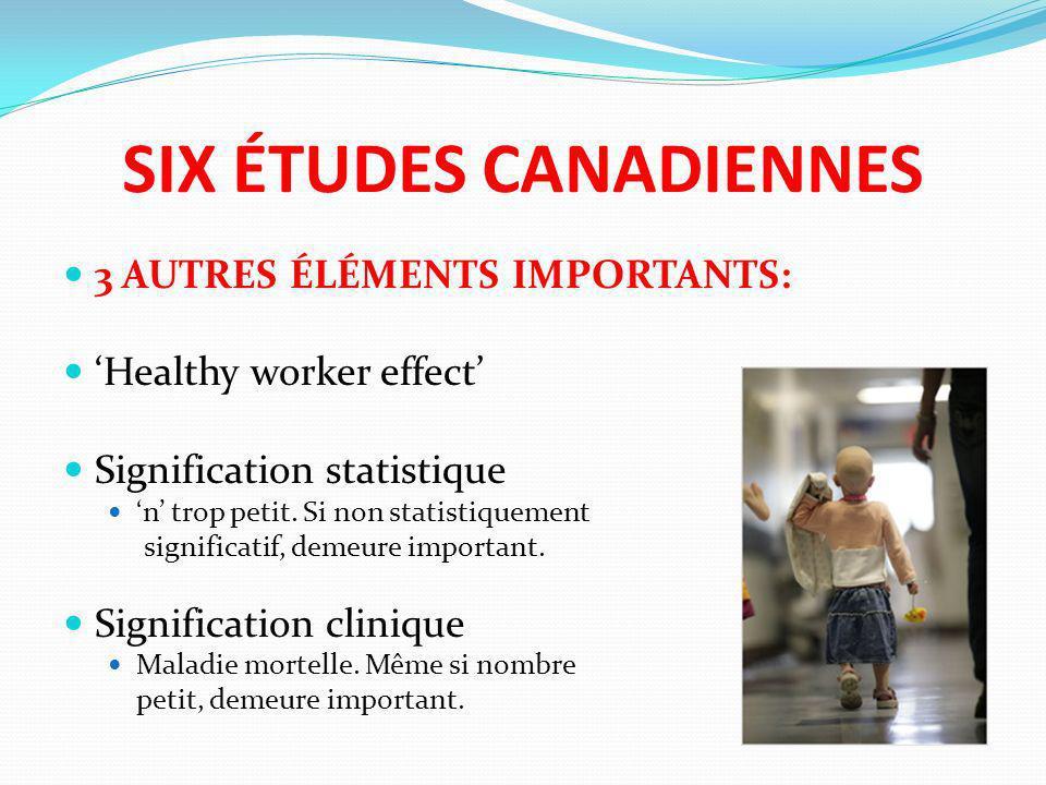SIX ÉTUDES CANADIENNES 3 AUTRES ÉLÉMENTS IMPORTANTS: Healthy worker effect Signification statistique n trop petit. Si non statistiquement significatif
